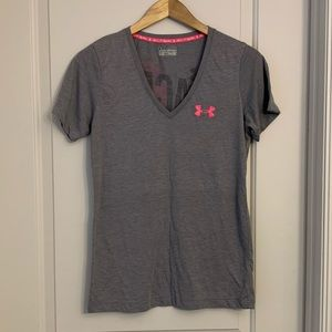 Under Armour Semi-Fitted Pink Ribbon V-neck